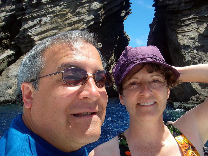 Tourists Rick and Wendy at the Kaunuakala Keyhole.
