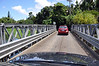 Driving back toward Hanalei, Kauai (Hawaii) on one of two sequential, one lane bridges.