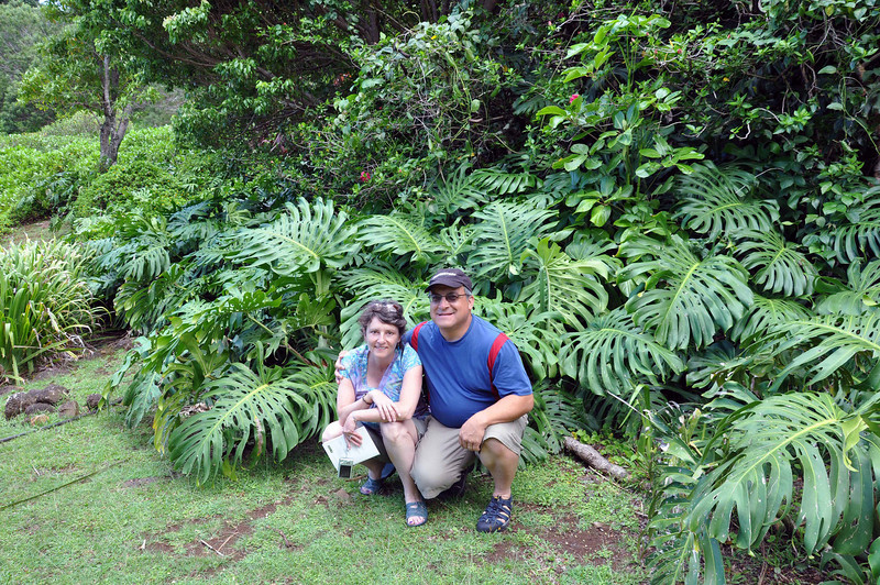 Wendy and Rick in the land of giant houseplants, Kauai.
