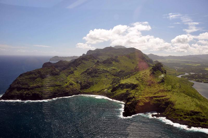 Airborne, we're heading clockwise along the coast of Kauai.