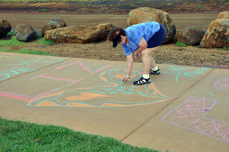 Mary's (mom) artistry on the Kapaa coast walk, where Liz will be running any minute now.