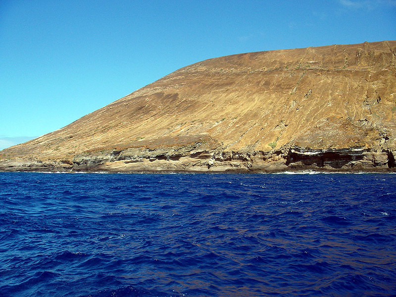 Just to the northwest of Kauai is the private island of Nii Hau and just to the north of it is this uninhabited island, named Kaunuakala. It is horseshoe-shaped. We snorkeled in the area (because it is partially protected) between the two land masses.
