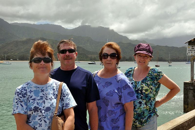Liz, Sam, Mary and Wendy on the Hanalei Bay pier of Kauai.