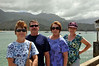 Liz, Sam, Mary and Wendy on the Hanalei Bay pier of Kauai.