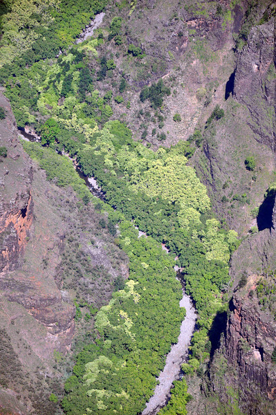 Waimea Canyon waterfall, from the air.