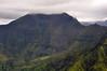 Mountains directly behind Hanalei Town in Kauai.
