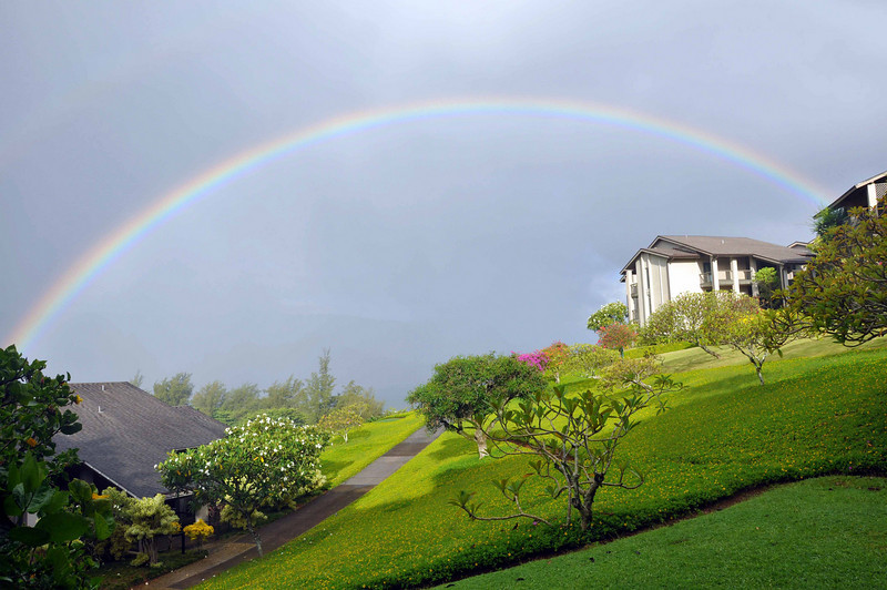 Rainbows occur often in Hanalei and Princeville, Kauai (Hawaii). This is the view from the lanai (patio) of our condo!