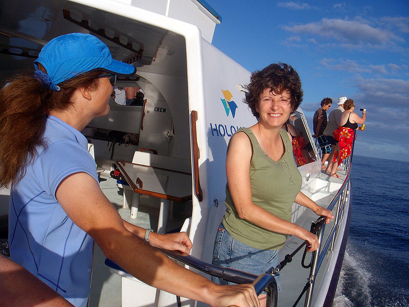 Liz and Wendy are keeping their eyes peeled for flying fish, dolphin, seals and who knows what?