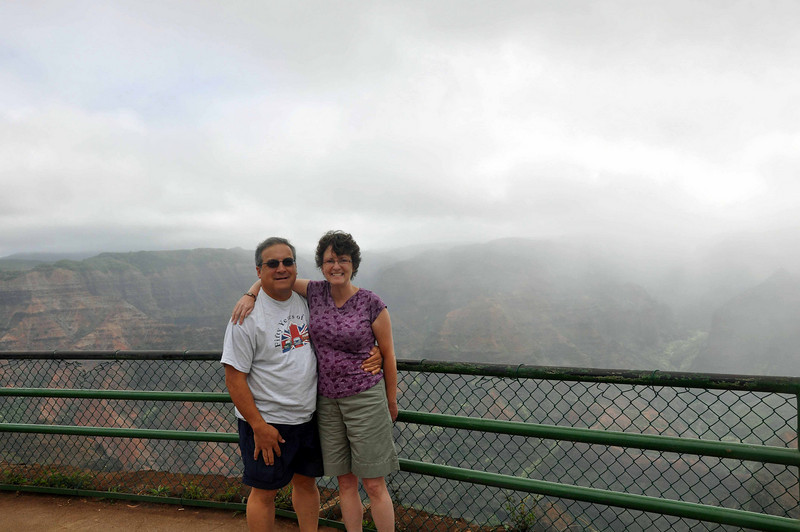 Waimea Canyon is 10 miles long, 1 mile wide, and more than 3,500-feet deep. It was carved thousands of years ago by rivers and floods that flowed from Mount Waialeale's summit, where the average rainfall is 460 inches per year!