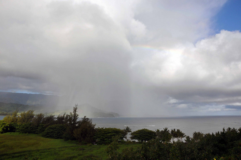 Rain in the western side of the bay (Hanalei).