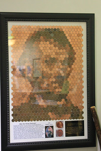 September 22, 2013 - (Abraham Lincoln Birthplace National Historical Park [inside Visitor Center] / Sinking Spring, Hodgenville, LaRue County, Kentucky) -- Art work of Lincoln made with Lincoln pennies