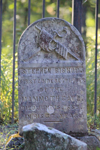 September 23, 2013 - (Mammoth Cave Hiking Trails [Old Guides Cemetery] / Mammoth Cave National Park, Edmonson County, Cave City, Kentucky) -- Tombstone for Stephen Bishop [slave guide in the 1830s]