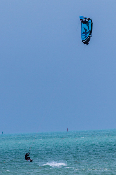 These wind surfers were enjoying the 20 Knot breeze.