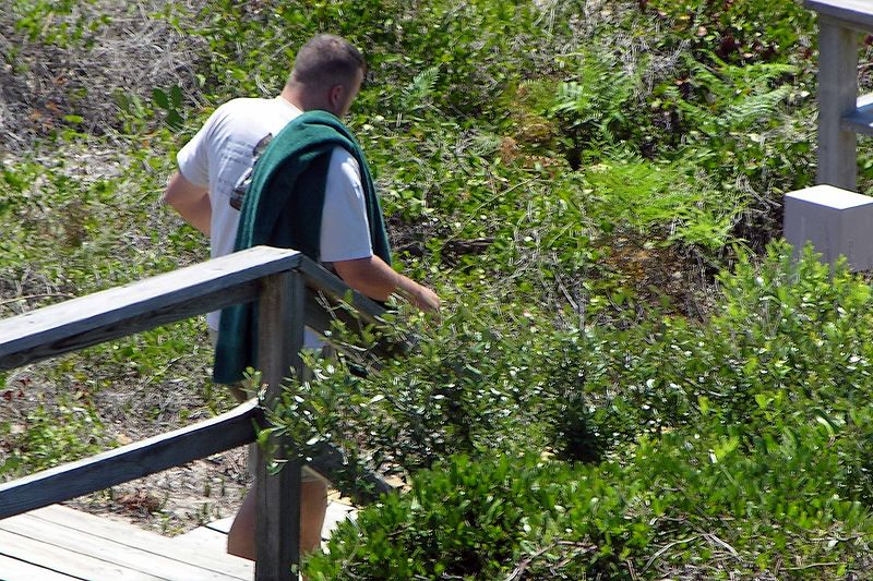 August 2004 - Jason on way to beach - taken from condo