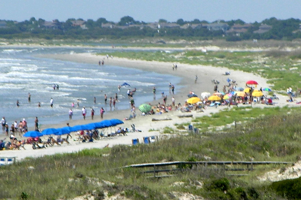 August 2004 - looking west from condo - Seabrook Island in the distance