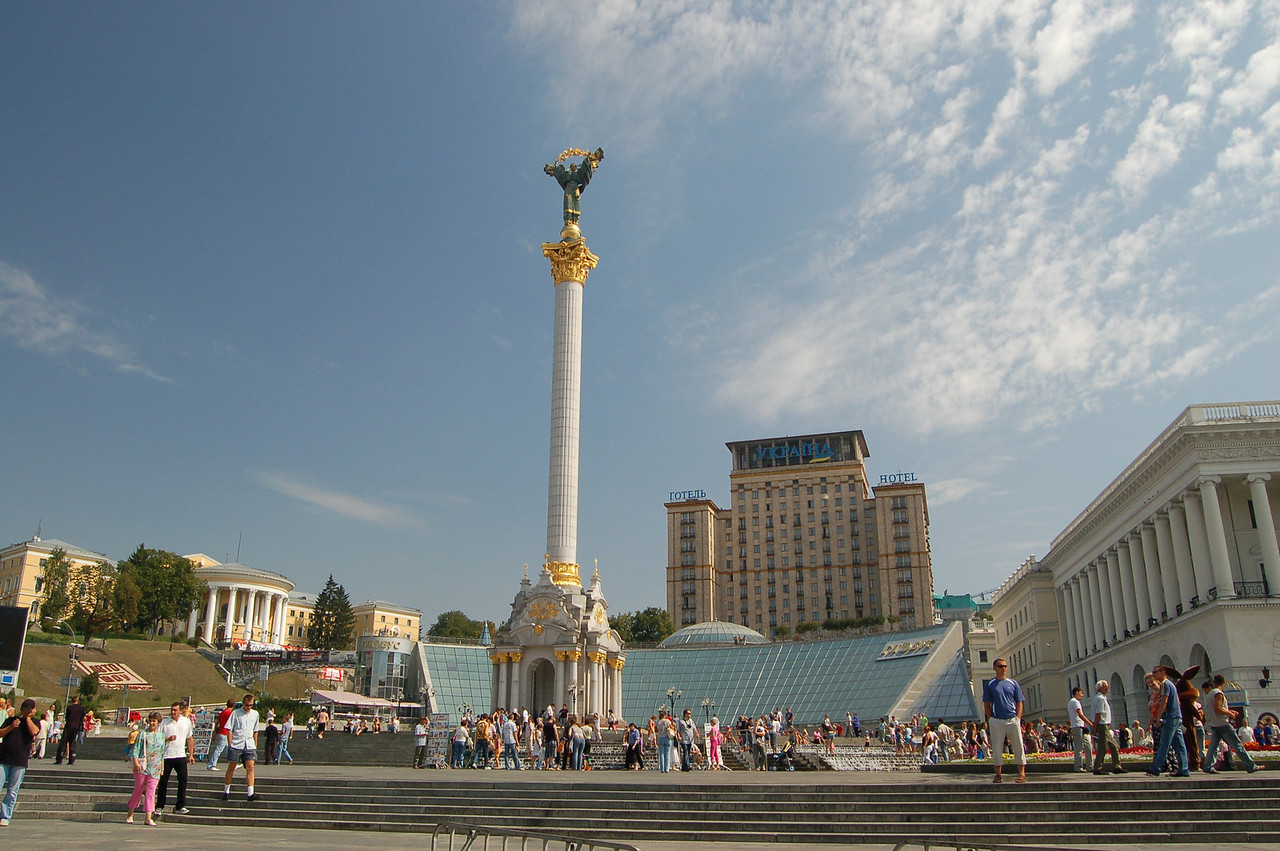"This monument is called ""Maidan Nezalezhnosti"" (Maiden of Independance).  She was built on the former site of a large Lenin statue.  She commemorates Ukraine's independance."