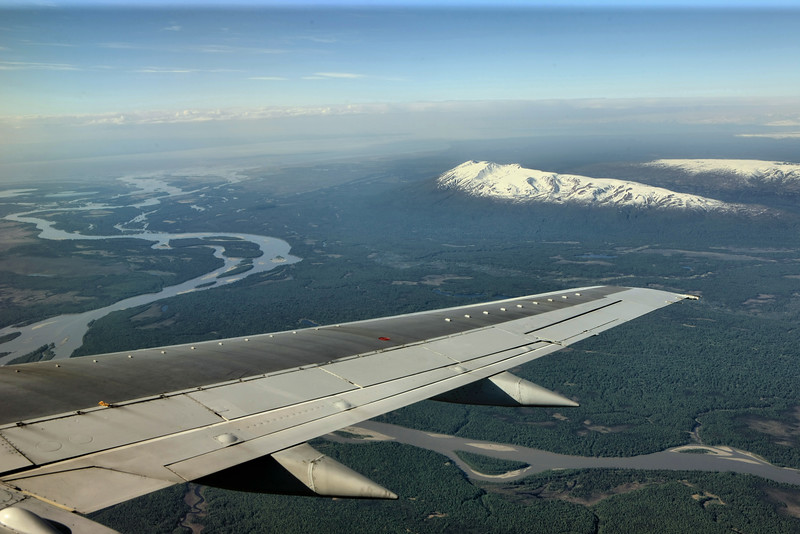 On the approach to Anchorage.  Mt. Susitna and I believe the Susitna River, although I could be wrong.
