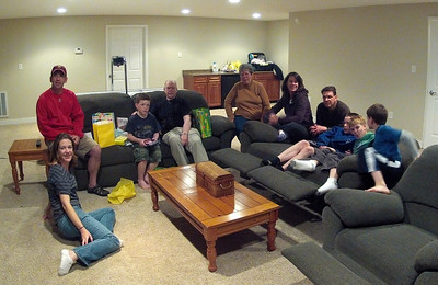 """Everyone but """"Baby Daniel"""" at Quins party.  One of those rare pictures with (nearly) all of our family members.  Left to right: Becky McCarthy, Greg McCarthy, Quinn McCarthy, Bob Tilden, Martha Tilden, Beth Beck, Brant Beck, Joe McCarthy, Jay Beck, and John Beck."""