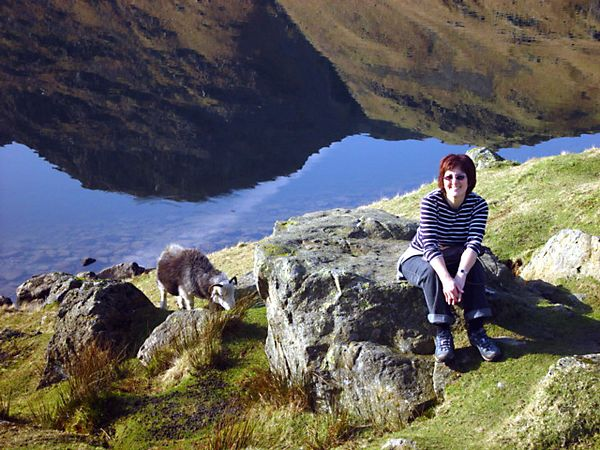 Linda and friend at the tarn
