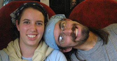 Steph and I on the train, between rounds of 20 questions.