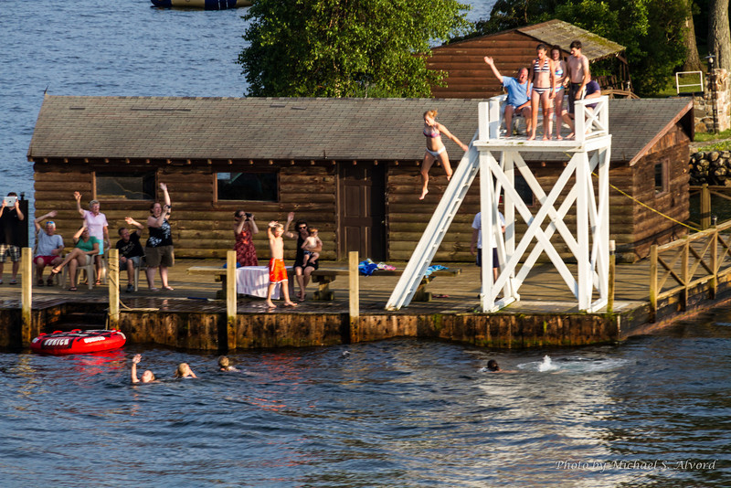 This is a diving dock that was on one of the houses on one of the many islands on the lake.