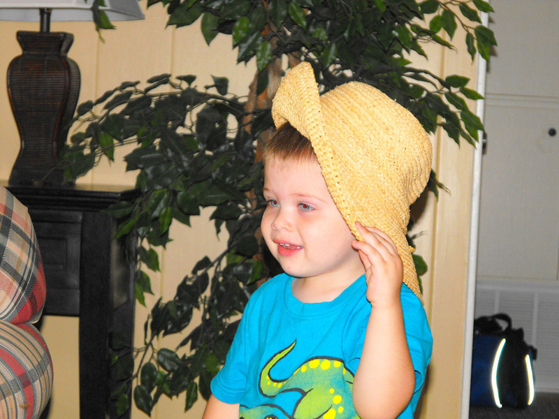 Weston trying on some hats...