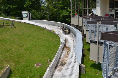 This is the 1932 and 1980 Olympic Bobsled track.  They use it in summer and offer rides down for about $75.