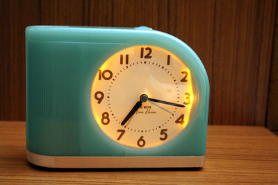 Loved the retro clock in the room