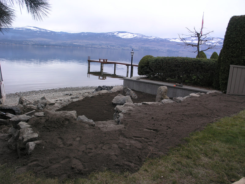 Finished garden bed - south wall - and lake view April 2006