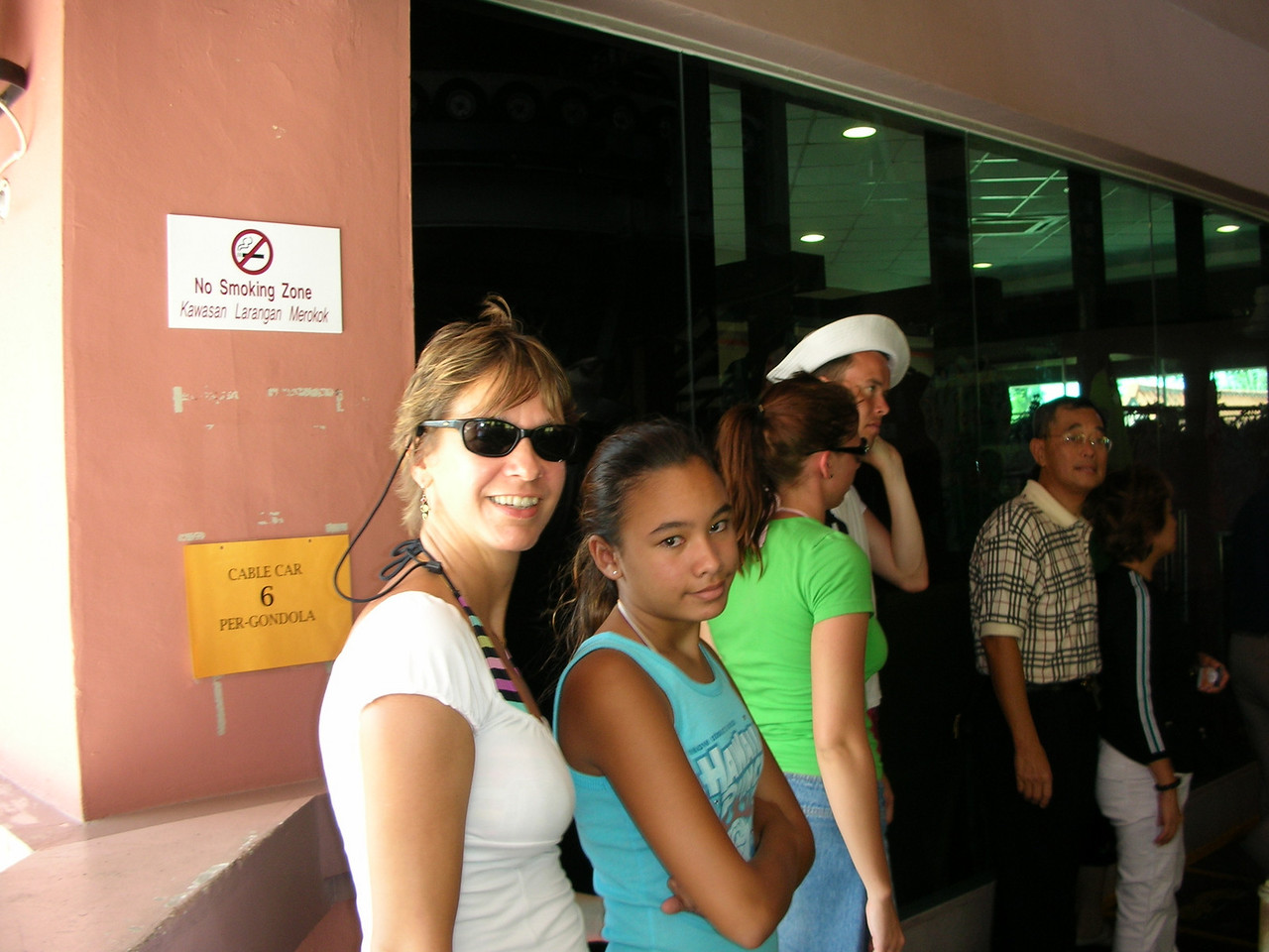 Waiting in line for the gondola in Langkawi