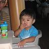 <center>Riley tasting the appetizer..</center>