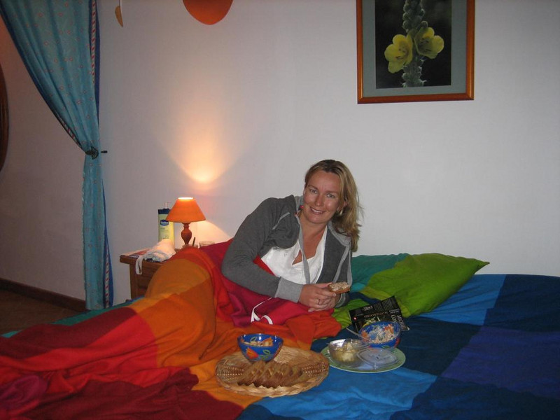 Petra in our apartment at Villa Amatista, with our first set of tapas