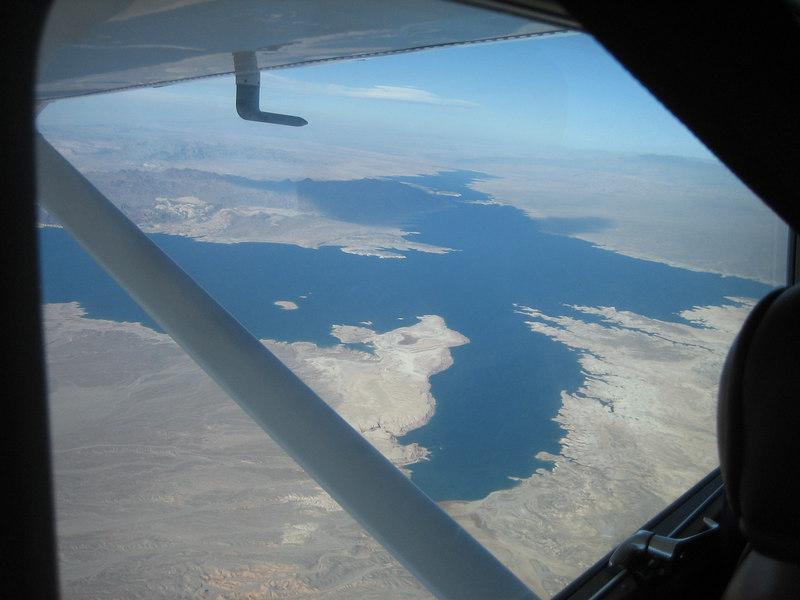 Flying in Uncle Tom's plane to Saint George, Utah.