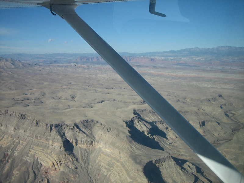 Flying in Uncle Tom's plane to Saint George, Utah.