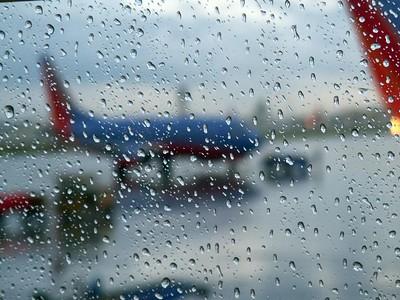 Departure rain storm