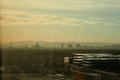 The view of the Las Vegas Strip in the distance.