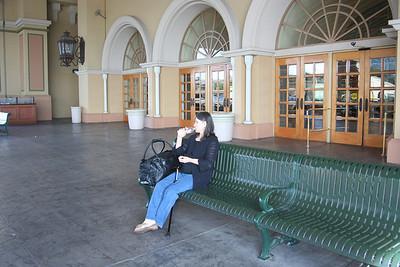 Mom waiting at the hotel.