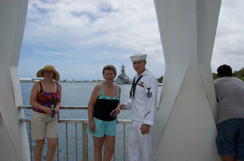 Omi and I before the USS Missouri, as taken from the Arizona Memorial.