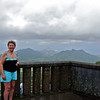 """The Nuuanu Pali Lookout (""""Cool Height Cliff""""), overlooking the 985 foot cliffs of the Koolau Mountain Range. This lookout gives a spectacular view of the NE side of O'ahu."""