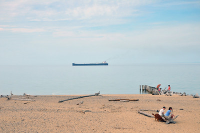 Freighter off Whitefish Point in Lake Superior.