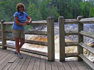 Karen at Tahquamenon Lower Falls.