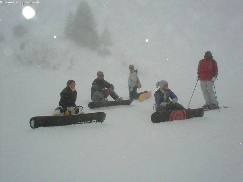 The boarders: Sjoerd, Martin, Ninette, Anto and me<br> The Skiers: Femke and Petra