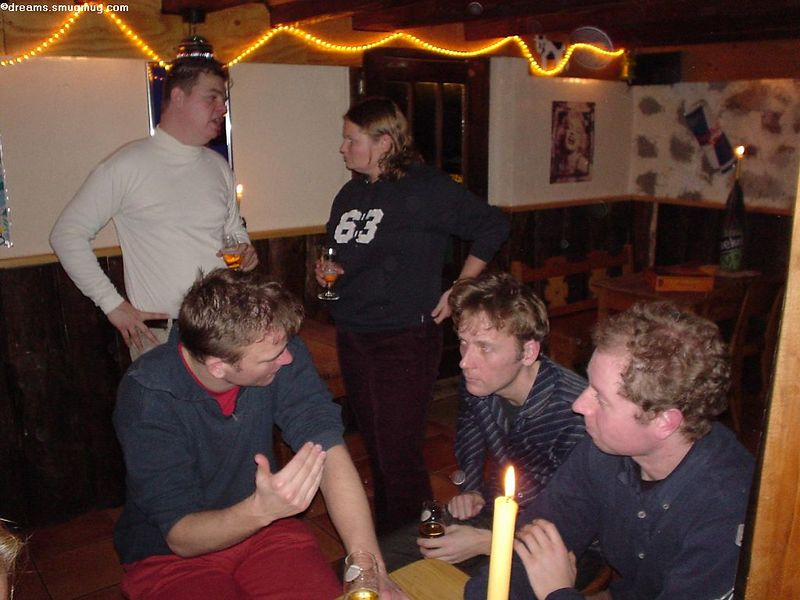 Marcel talking to Antonique, and Sjoerd, Marc and William sitting down