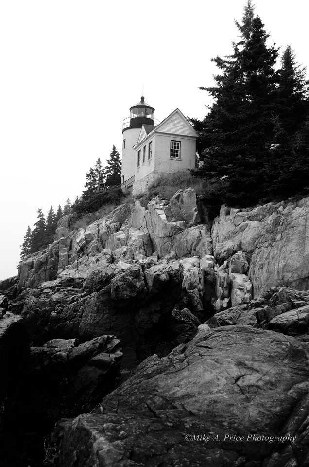 Bass Harbor Head Light in black and white