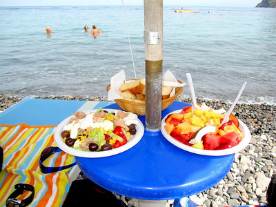 Lunch - Tuna and Vegetable Salad and a Fruit Plate