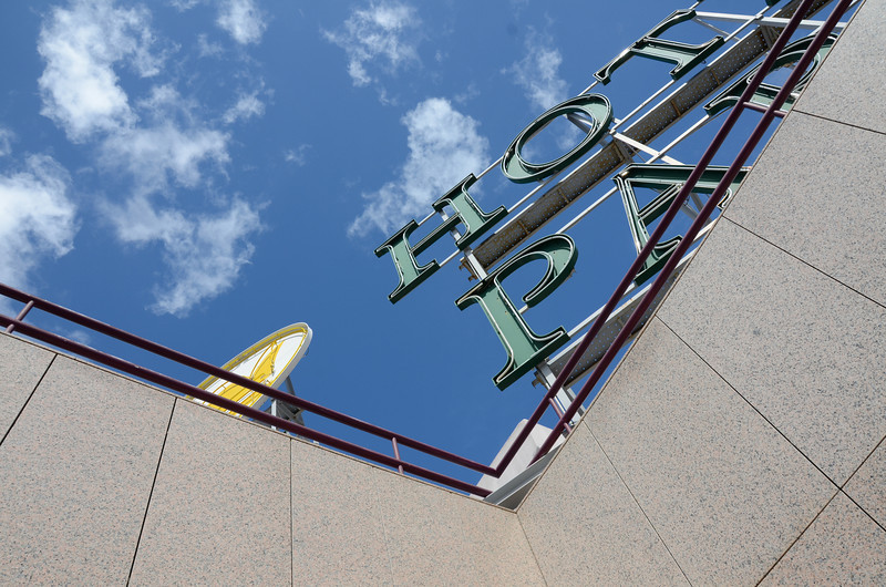 The sign at the top of the Real Parque Hotel