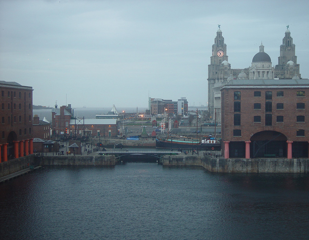The view from our room, early morning. The Tate Gallery is on the left, the Liver buildings are on the right, and the River Mersey is in the background.