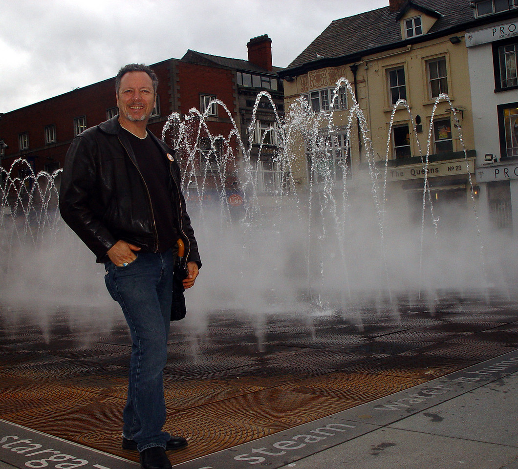 Steve standing beside the new fountain in Williamson Square.
