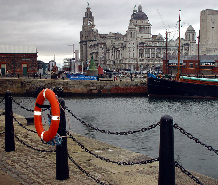View of the Three Graces from the Albert Dock.