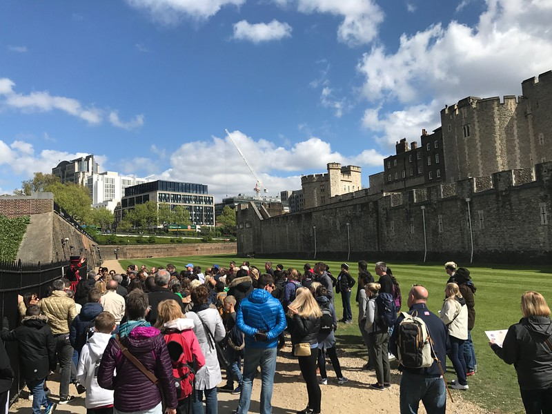 Tower of London...Yeoman Warder visible on the left in black/red.